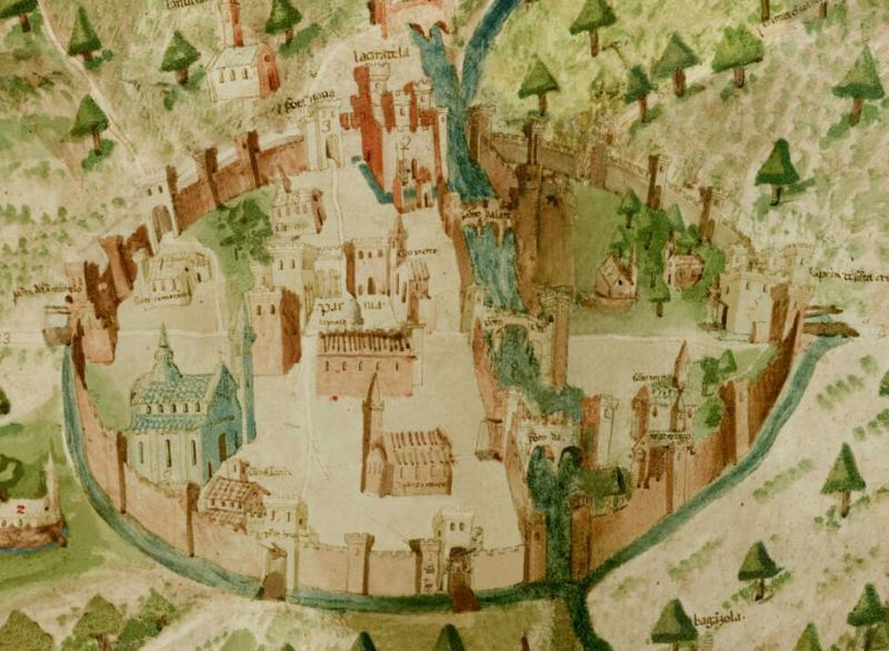 Parma: Walled City of the Etruscans - 15th Century fanciful map of an old city dating back to the Bronze Age, c 3000 BC