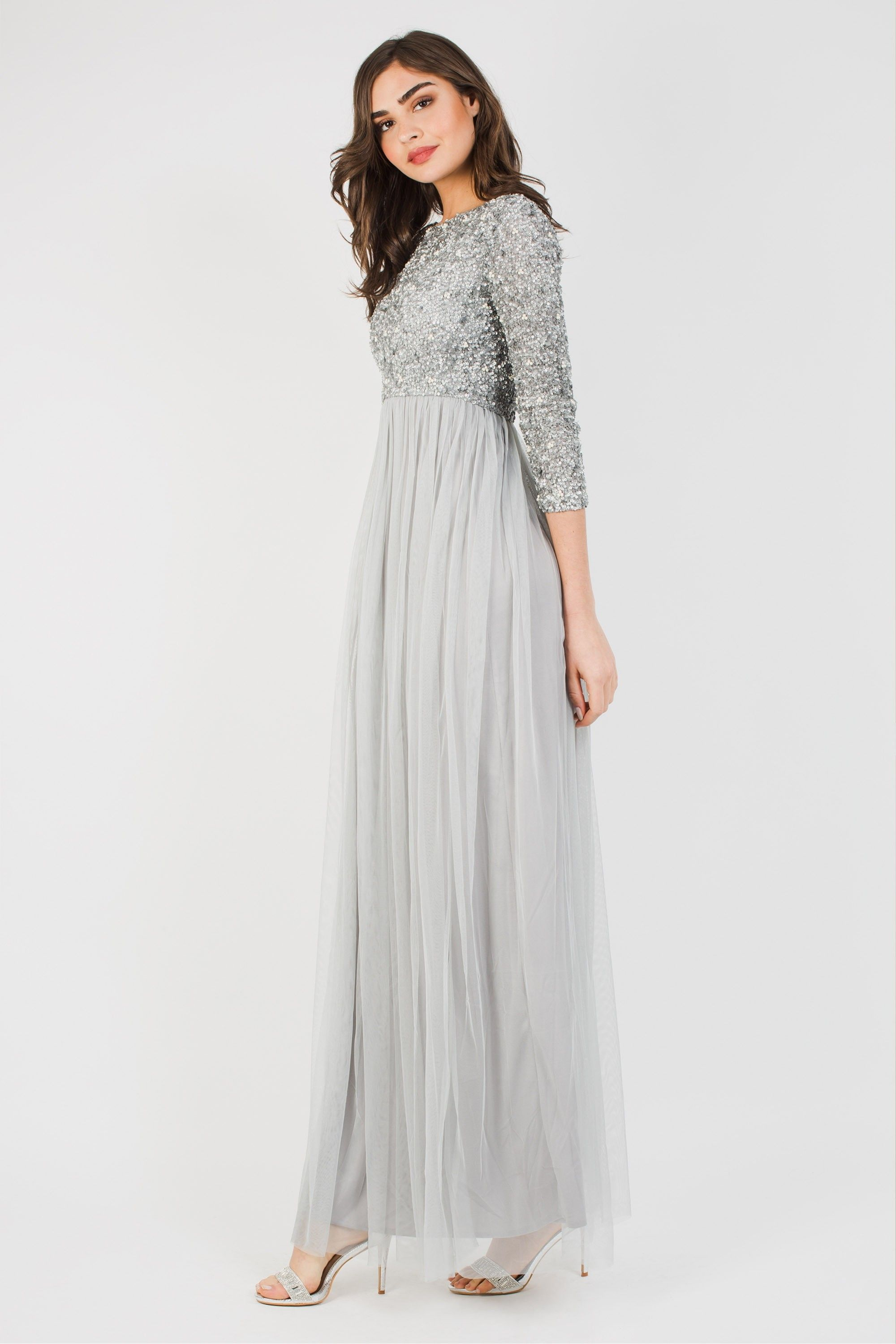 e92115dfa3db LACE & BEADS PICASSO 3/4 SLEEVED GREY EMBELLISHED MAXI DRESS | PARTY DRESSES