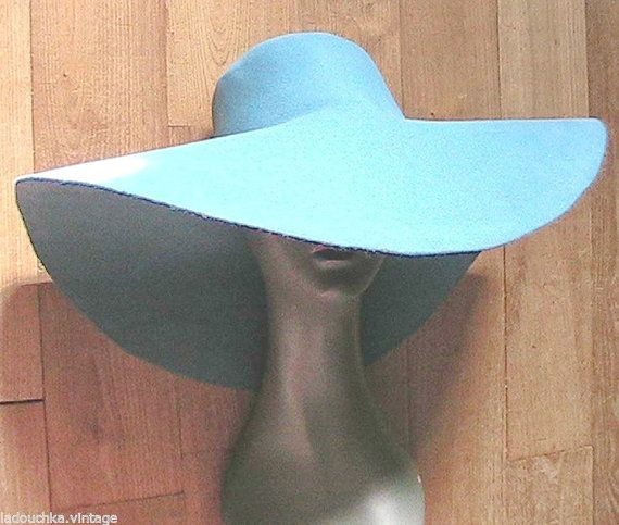 French 1970s Woman Chic Bohemian Capeline Hat - Blue Felt - Floppy Wide Brim - MADE IN FRANCE - New - M
