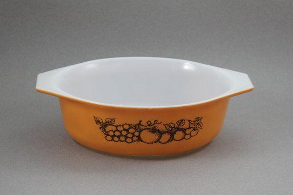 Pyrex Old Orchard Casserole Dish, Vintage Pyrex Orange Casserole Bowl Dish, Retro Pyrex