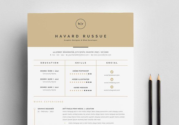 Professional Resume 4 Pages by Whitegraphic on @creativemarket Ready