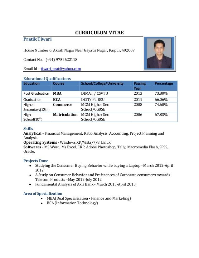 Cv Format For Mba Freshers Free In Word Pdf Resume Format