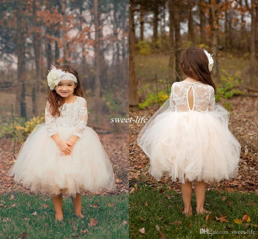 Cute Ball Gown Boho Country Wedding Flower Girl Dresses Illusion