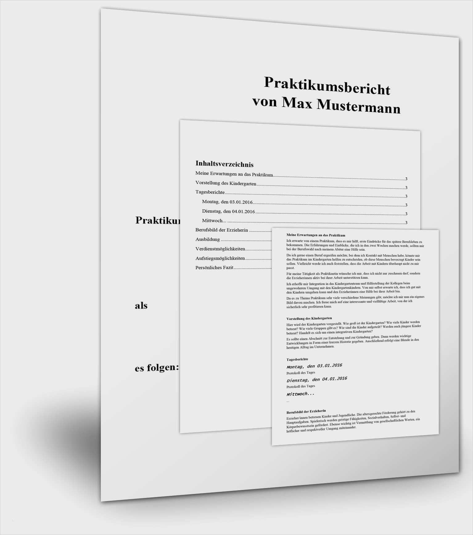 Grossartig Praktikumsbericht Vorlage Pdf 10