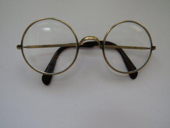 db8f650f1db Vintage Brass Glasses - Large Round Wire Rim Eyeglasses - Vintage Eye Wear  - Reading Glasses - Mid Century Modern - Costumes Displays Props