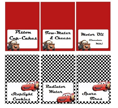 Disney Cars Food Labels Personalized Personalized Labels