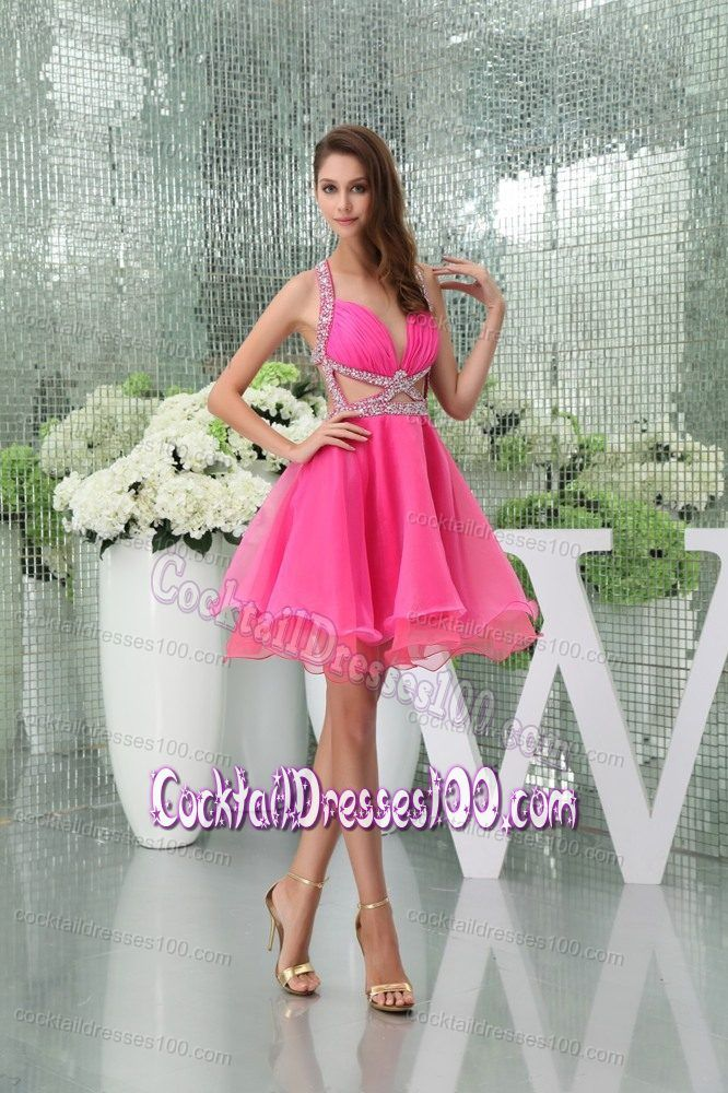 Halter Top Hot Pink Cocktail Dress with Side Cutouts and Beading ...