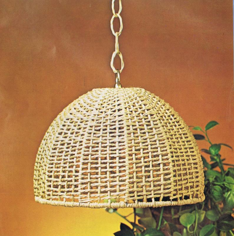 Vintage Macrame Patterns Hanging Lamps Mesh Lamp Shade Pattern Etsy In 2020 Vintage Macrame Patterns Macrame Patterns Lampshade Designs