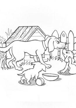 Раскраска Собака и два щенка, скачать и распечатать ...