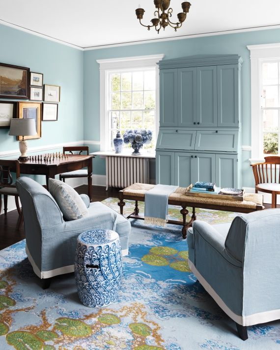Paint 5050 Blend In Buxton Blue HC 149 And Yarmouth Living Room