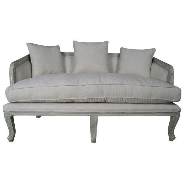 French Country Linen Sofa With Sage Distressed Wooden Frame