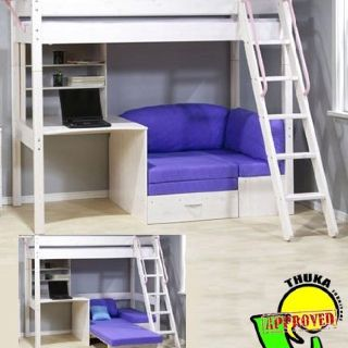 Purple Loft Bed With Couch Bunk Bed With Desk Futon