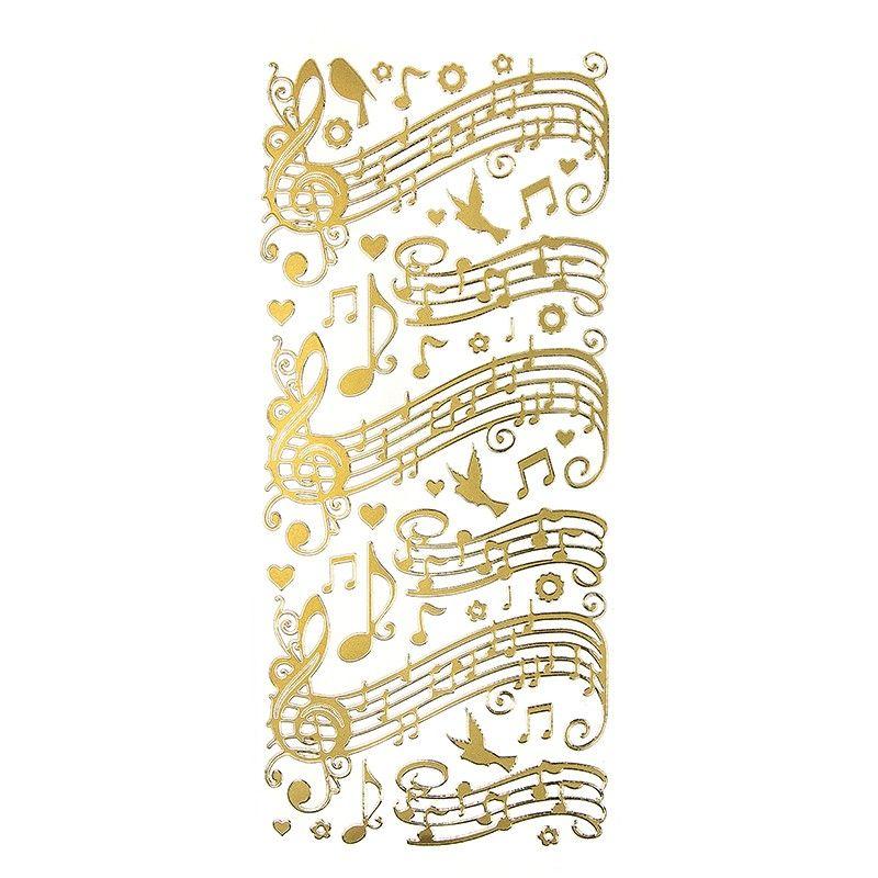 Stickerbogen mit Noten, V�geln und Herzen, Spiegelfolie, gold. Gr��e Bogen: 23 x 10 cm.