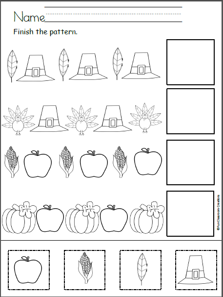 free thanksgiving patterns cut and paste ms olalia prek stuff pattern worksheets for. Black Bedroom Furniture Sets. Home Design Ideas