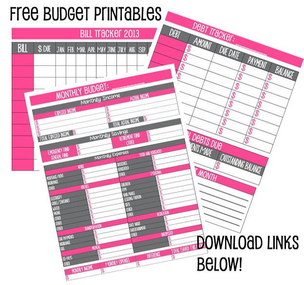 Budgeting apps/ free downloadable worksheets calendars/planners