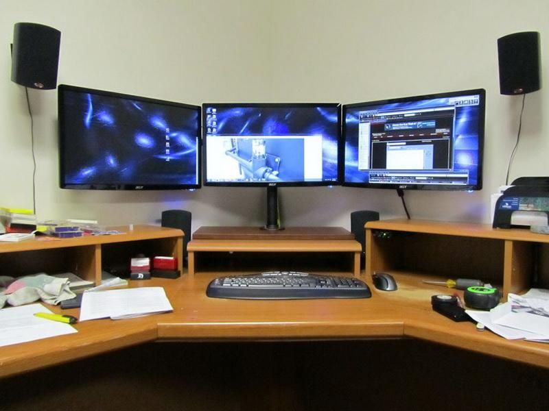 Ideas For Computer Desk diy triple monitor computer desk ideas | design | pinterest