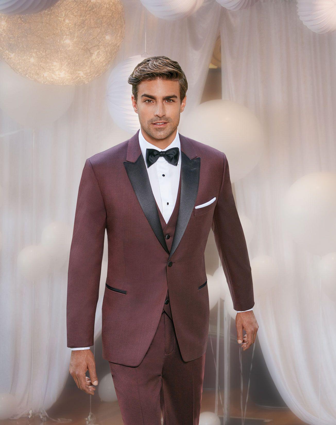 Burgundy Ike Behar Marbella Tuxedo Prom tuxedo, Tuxedo