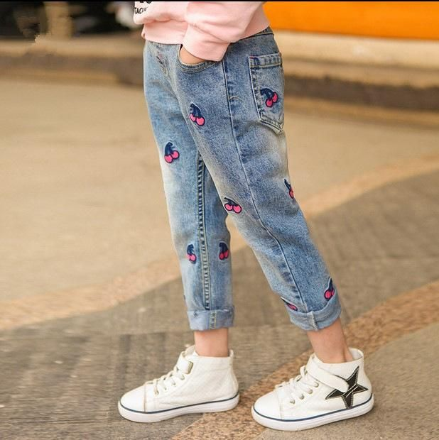12aa7a43f Girls jeans spring baby skinny jeans for girls kids Cartoon cherry embroidery  pants children trousers