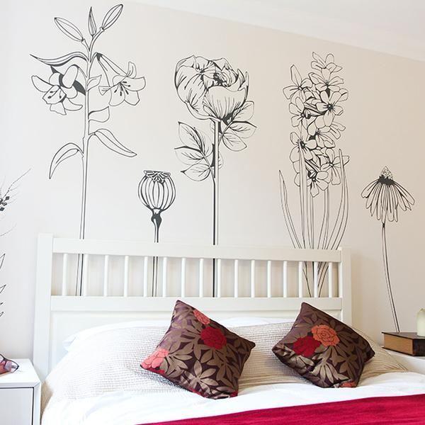 Como Dibuja En Grande Sin Saber Dibujar Nada El Como De Las Cosas Mural De Flores Decoracion De Pared Decoracion De Interiores
