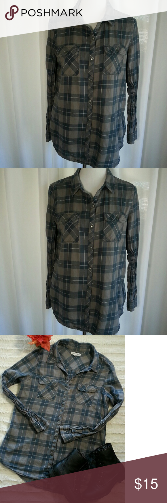 Flannel shirt black and grey  Melrose u Market Classic Flannel Size Medium  Flannel shirts