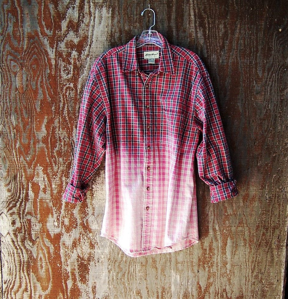HALF BLEACHED PLAID shirt hipster grunge flannel long ...
