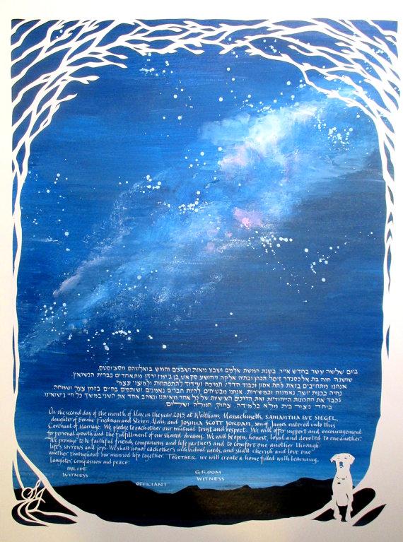 Milky Way Galaxy Ketubah - night sky - papercut ketubah - calligraphy - hand lettering
