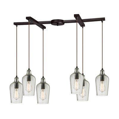 Westmore Lighting Hammered Gl 6 Light Multi Pendant