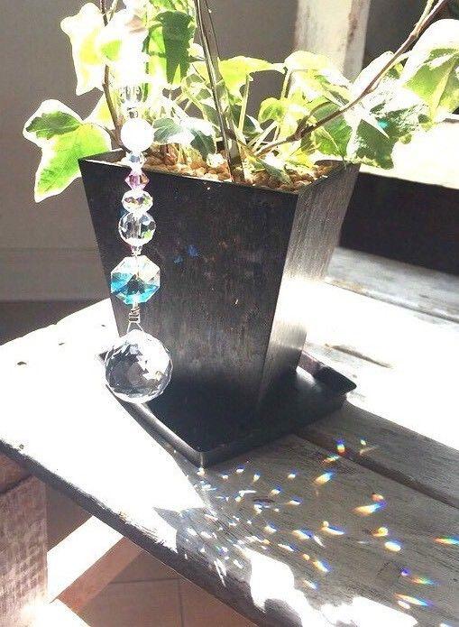 植木に挿し型タイプ サンキャッチャー 天然石付き ミラーボール