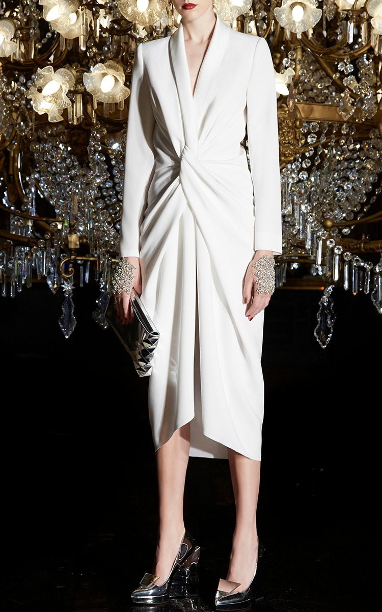 Gabardine Tuxedo Knot Dress By Paule Ka Stylish White Dress Dresses White Cocktail Dress [ 1200 x 750 Pixel ]