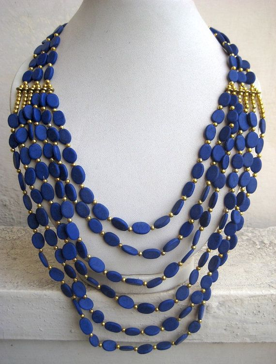 Royal Blue Necklace/Statement Necklace/Multi Strand by FootSoles