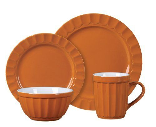 Gibson Montcrest 16-Piece Stoneware Dinnerware Set Orange by Gibson Overseas Inc.  sc 1 st  Pinterest & Gibson Montcrest 16-Piece Stoneware Dinnerware Set Orange by Gibson ...