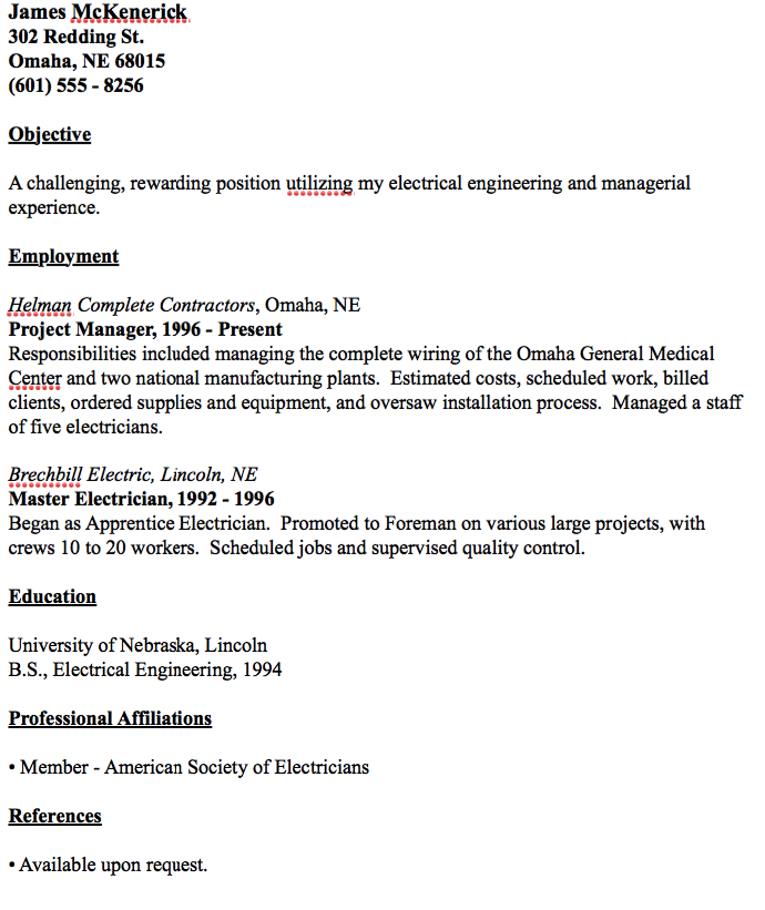example of master electrician resume template objective for hotel front desk accounting graduate cv it project manager summary