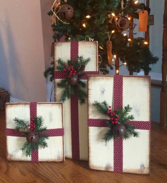 Set of Three Distressed Wooden Christmas Presents Merry Christmas