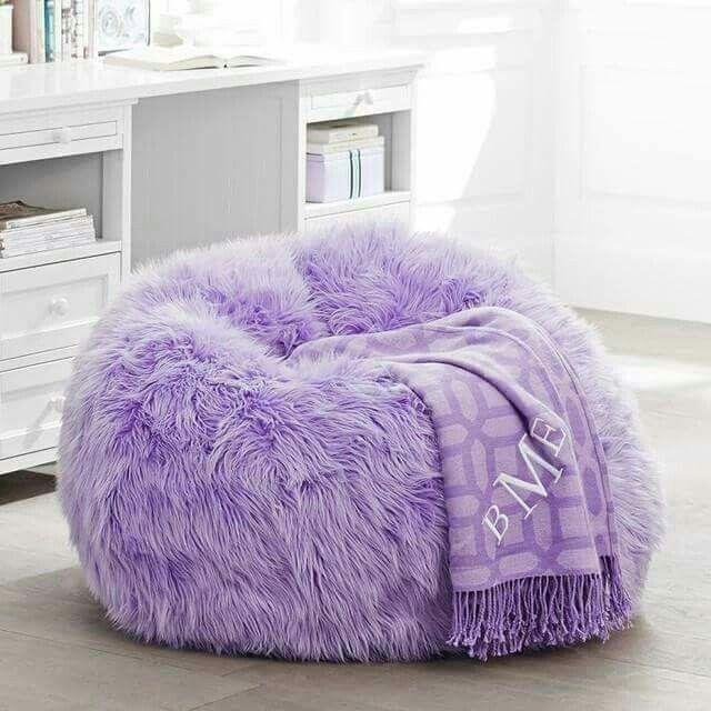Fuzzy Purple Bean Bag Chair