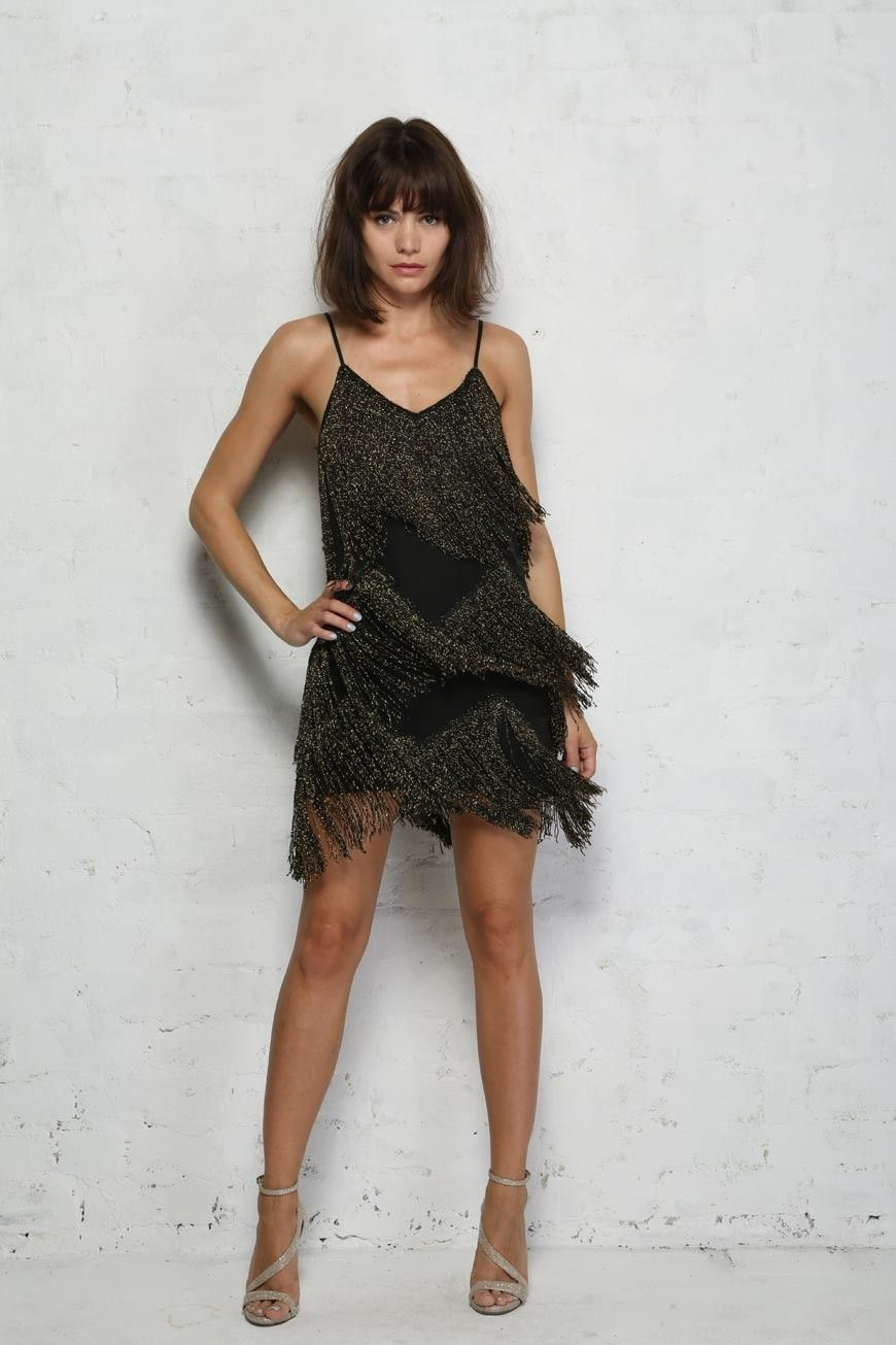 Black fringe flapper dress work christmas parties pinterest