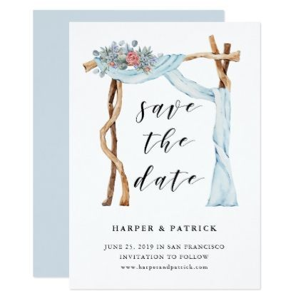 Floral wedding arch watercolor save the date card wedding floral wedding arch watercolor save the date card wedding invitations cards custom invitation card stopboris Gallery