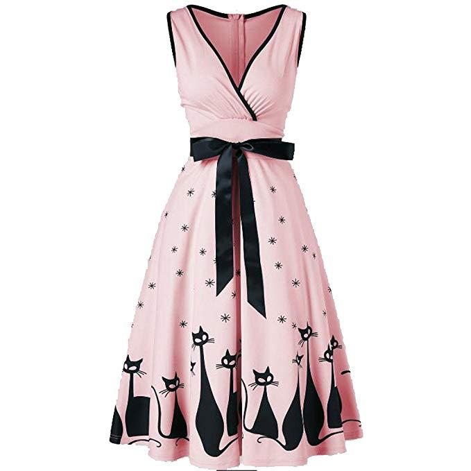 Retro Sleeveless V-Neck Print Evening Party Prom Swing Dress