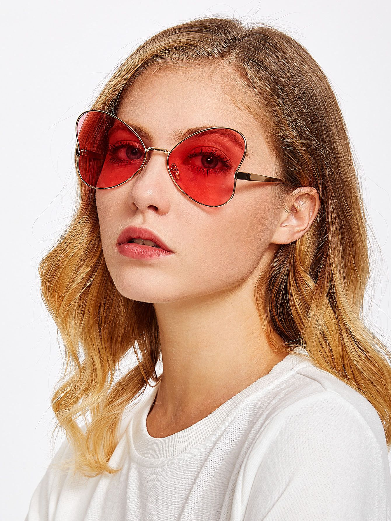7341325f35 Shop Heart Pattern Tinted Lens Sunglasses online. SheIn offers Heart  Pattern Tinted Lens Sunglasses   more to fit your fashionable needs.