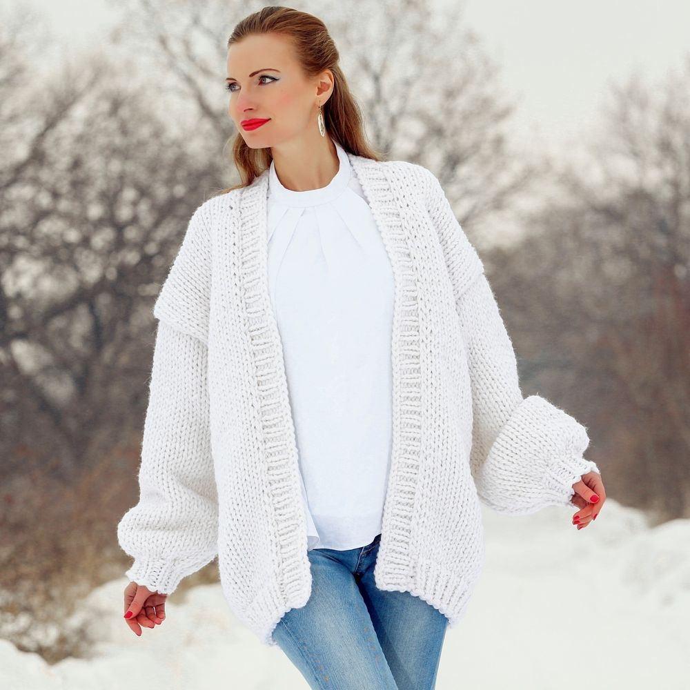 SUPERTANYA WHITE Hand Knitted Wool Sweater Oversized Non Mohair ...