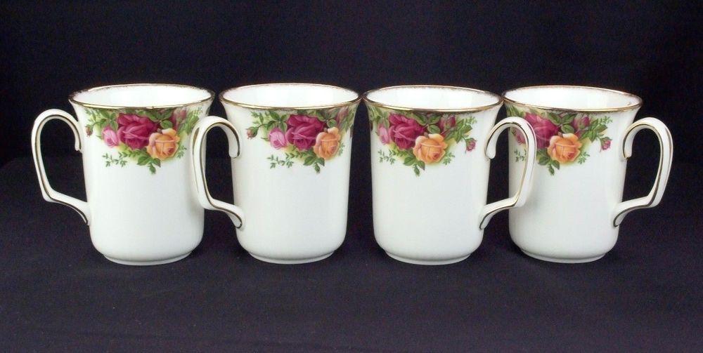4 Royal Albert Old Country Roses Beaker Coffee Mugs VGC