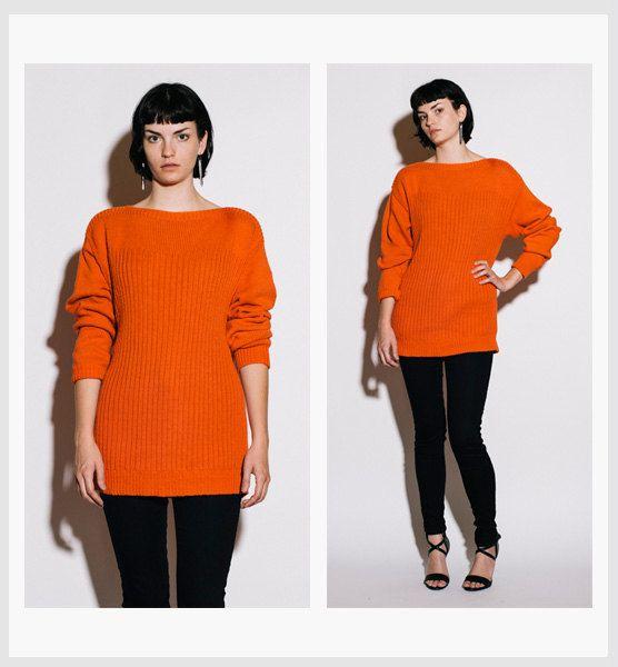 KENZO Vintage 1980s Tangerine Sweetheart Neckline Sweater  #kenzo #vintage #vintagesweater #paris