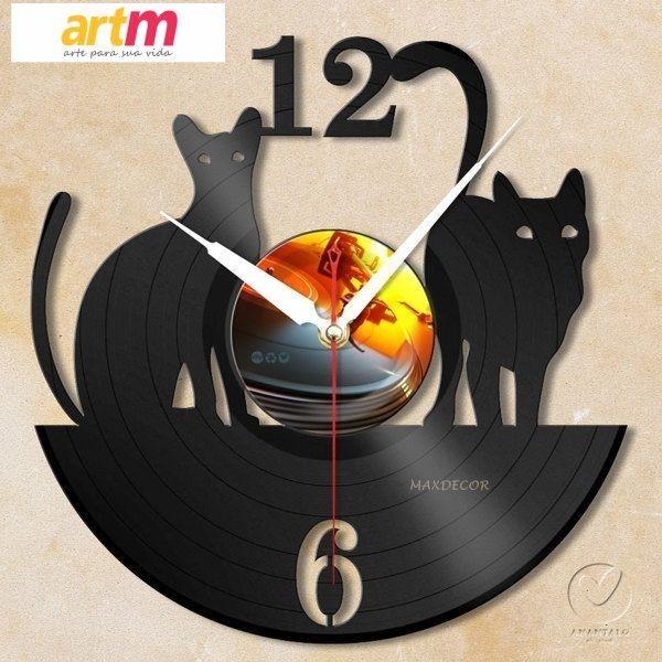 d3adac8762d relogio em disco de vinil animais gatinhos