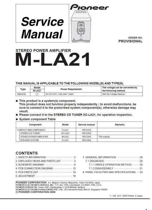 Pioneer M-LA21 Power Amplifier , Original Service Manual 100 per - operation manual