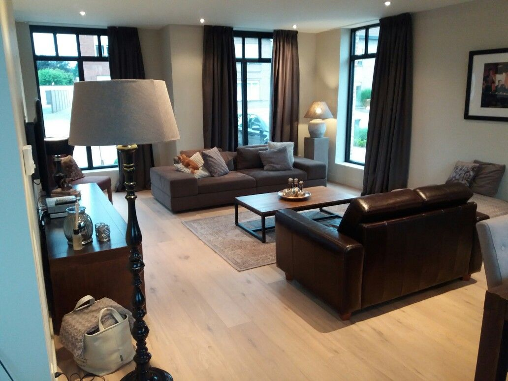 woonkamer landelijk parket wit geolied steel look ramen home