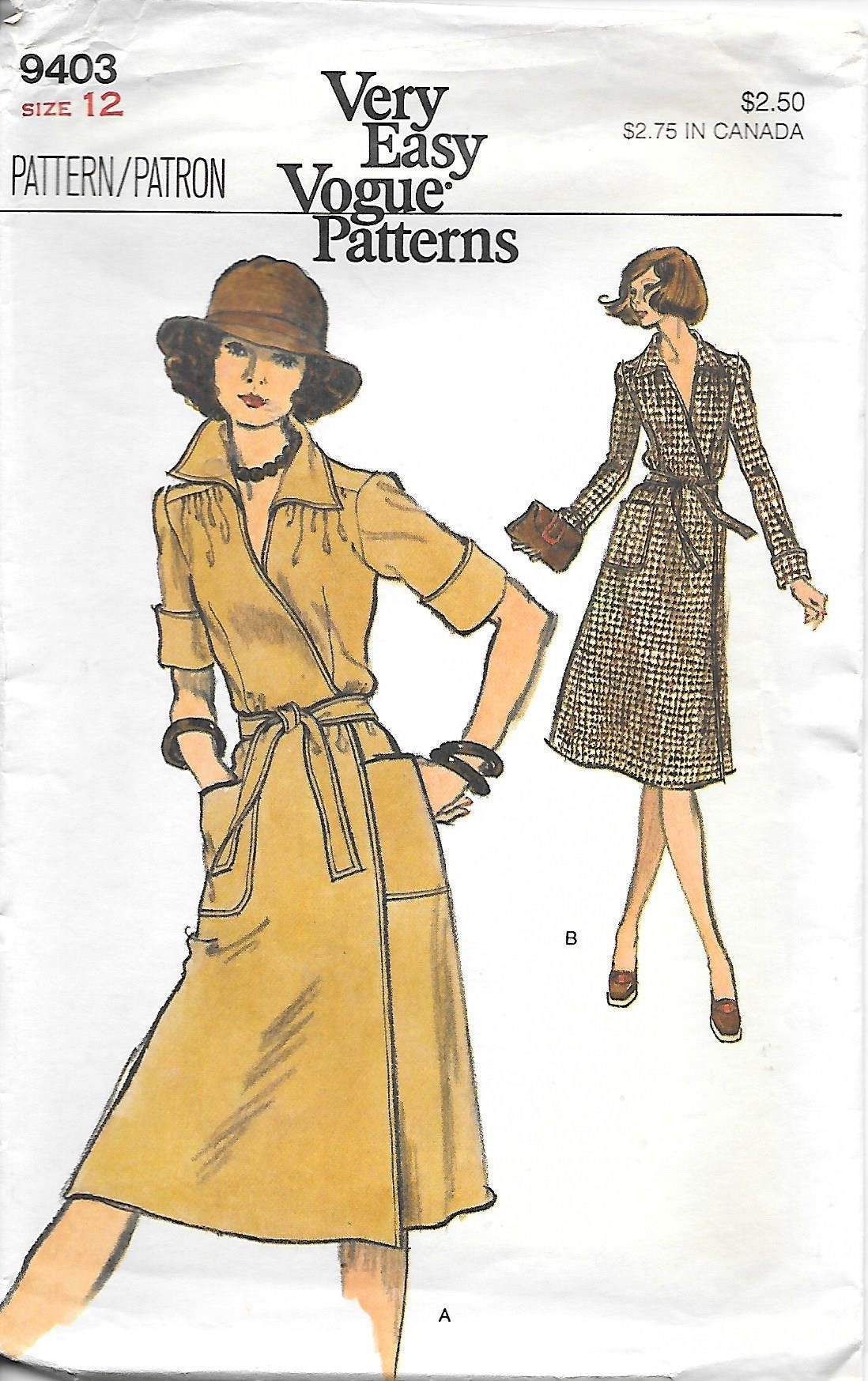 1970s Vogue 9403 Misses Front Wrap Dress With Collar And Etsy Wrap Dress Pattern Pattern Dress Women Vintage Vogue Sewing Patterns [ 1747 x 1098 Pixel ]