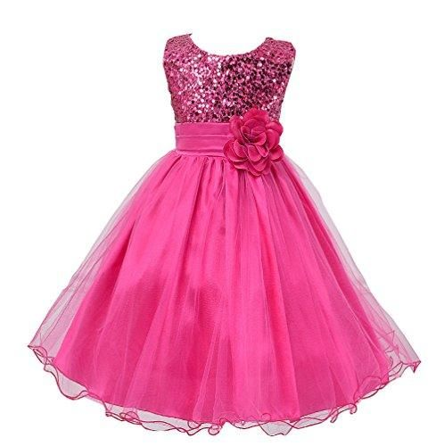 be86fafdf0 Wocau Little Girls  Sequin Mesh Tull Dress Sleeveless Flower Party Ball Gown  (150(7-8 Years)