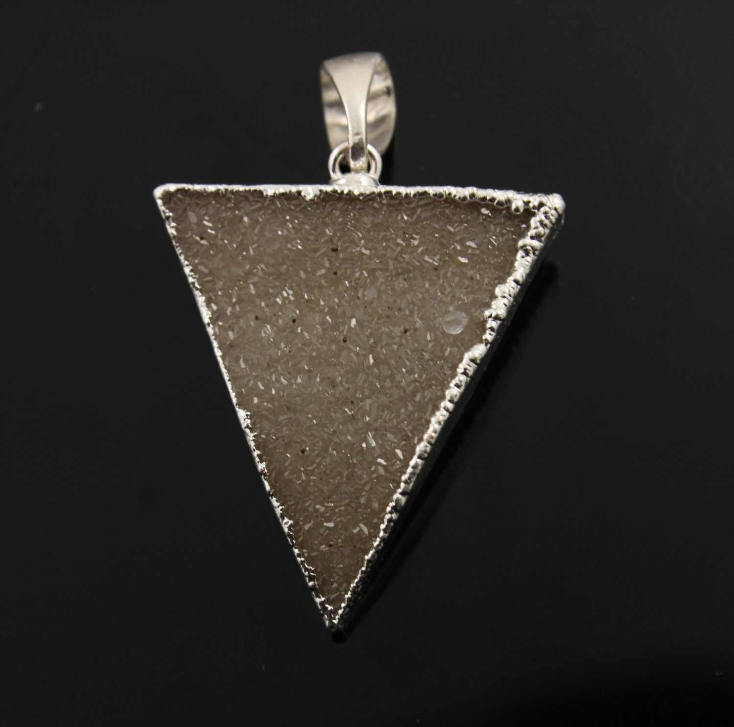 Dazzling Druzy Triangle Pendant in Stunning Earth Tones, Silver Plated, 30x33mm, A+ Gorgeous Quality, Electroplated Edge (SS-DZY/TRI/128) by Beadspoint on Etsy