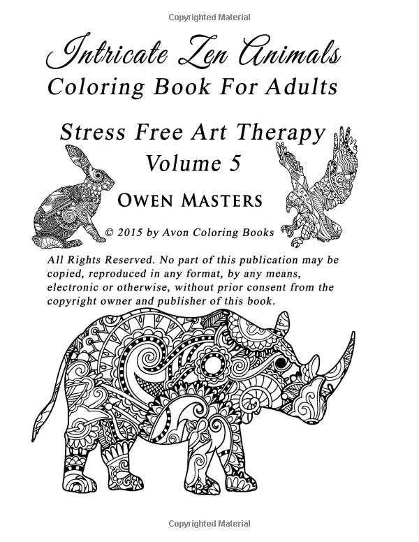 Amazon Intricate Zen Animals Coloring Book For Adults Stress Free Art