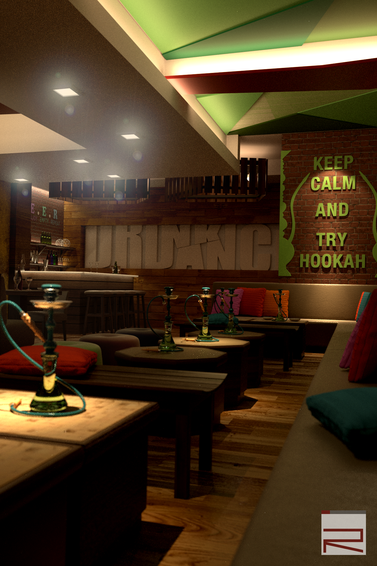 Our latest project interior of hookah lounge bar in for Raumgestaltung cafe