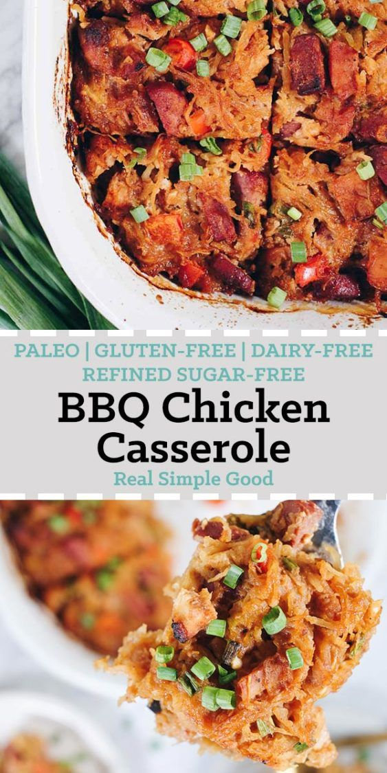 BBQ Chicken Casserole (Paleo, GF, DairyFree + Refined SugarFree) is part of Bbq Chicken Casserole Paleo Gf Dairy Free Refined Sugar - We love when spaghetti squash is in season, so we can make this Paleo BBQ Chicken Casserole  It's a cleaner and healthier way to enjoy total comfort food!
